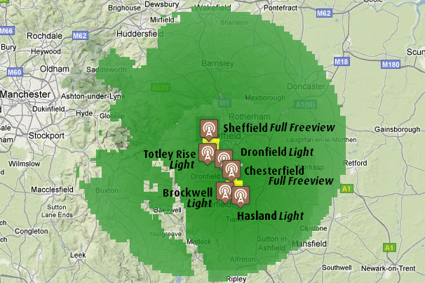 Sheffield and Chesterfield transmitter groups