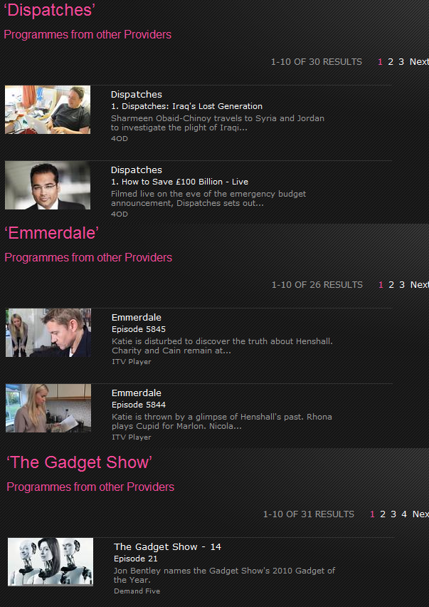 BBC iPlayer other providers search