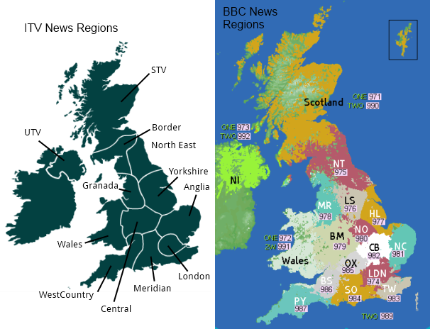 BBC and ITV regional news areas
